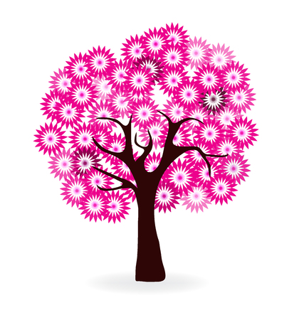 Bloesems van de kers boom logo Stock Illustratie