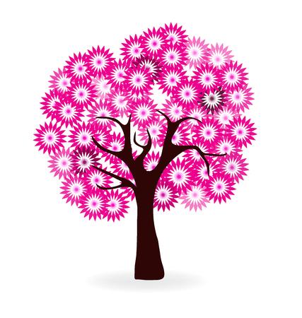 Fleurs de cerisier arbre logo Banque d'images - 49922590