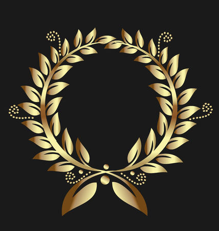 leafs: Gold laurel wreath award ribbon. Can represent victory, achievement, honor, quality product, seal, label,or success. Swirly leafs decoration on black background.