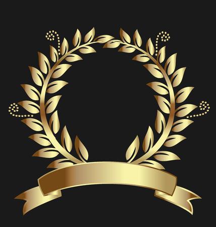 Laurel Award corona nastro d'oro. Può rappresentare la vittoria, la realizzazione, l'onore, la qualità dei prodotti, foca, etichetta, o il successo. foglie Swirly decorazione su sfondo nero. Vettoriali