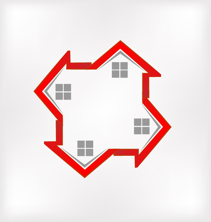 roofing: Red houses vector image id real estate business