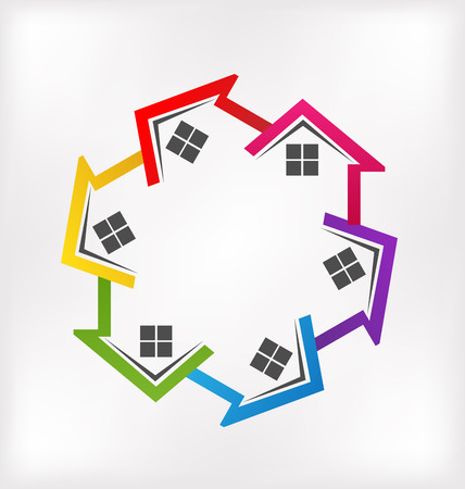 real business: Houses vector colorful image id real estate business