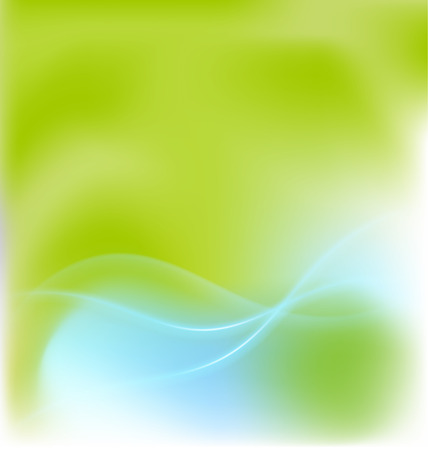 Blue waves green background template vector image