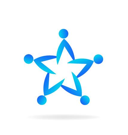 embraced: Teamwork star shape.