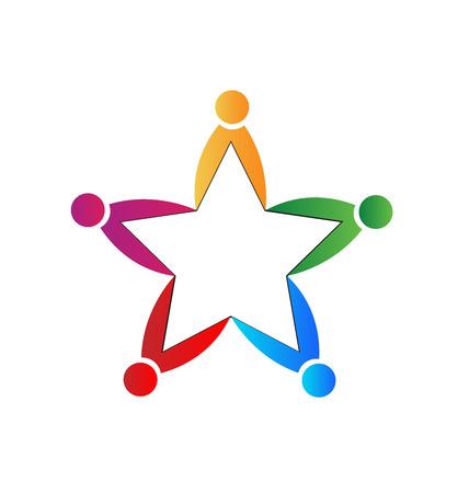 forme et sante: forme d'étoile de travail d'équipe. Illustration