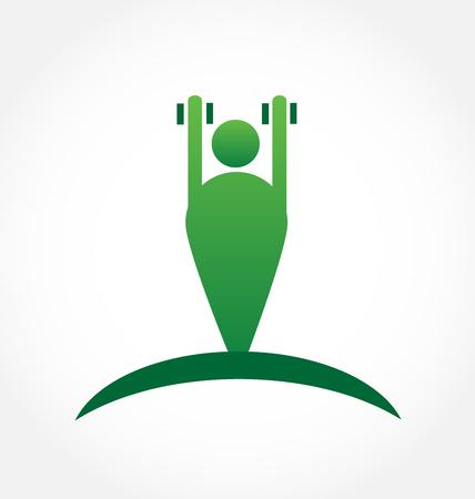 gym: Gymnasium symbol people figure and Body Building icon logo vector Illustration