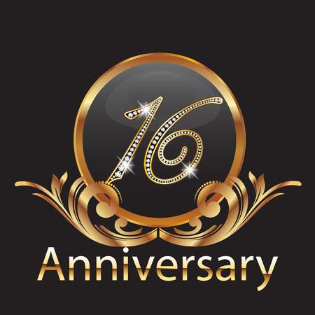 16 Jahre Jubiläum Geburtstag in Gold
