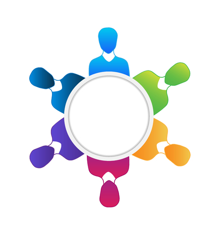 vivid colors: Teamwork meeting people vivid colors  vector Illustration