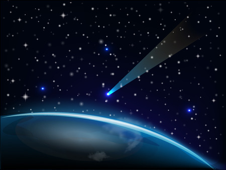 belief system: Shiny star falling on earth vector image web template