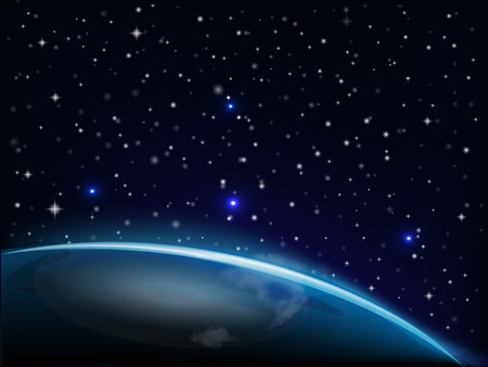 Starry glowing night with earth vector image background