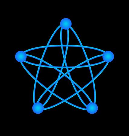 physical exam: Vector of atom molecular electron blue graphic web illustration template.