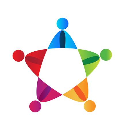 Teamwork union people colorful   vector Illustration