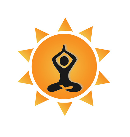 Yoga and sun identity card logo vector