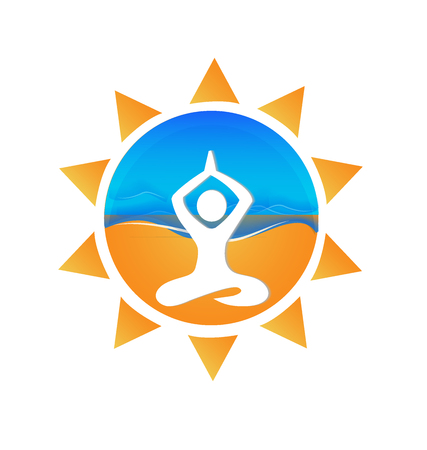 Yoga sun and beach logo vector image