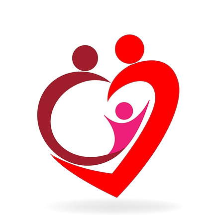 healthy kid: Family love heart symbol logo vector image