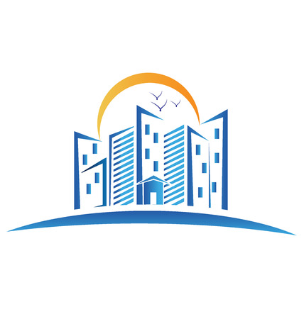 Modern buildings with sun and birds logo vector image