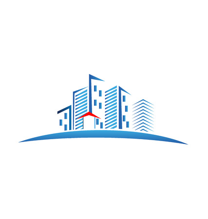 Modern buildings logo vector image