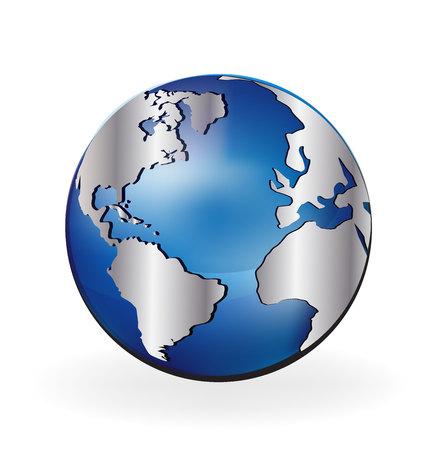 wereldbol: Pictogram van de aarde logo vector bol illustratie