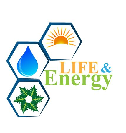 energy logo: Energy elements of life logo vector