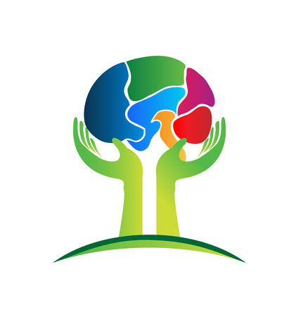 hand free: Brain care logo vector