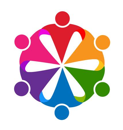 child holding sign: Logo hug people teamwork vector id business card design