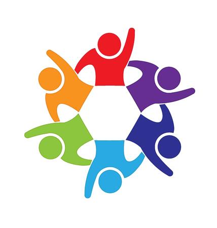 circulo de personas: la gente feliz del logotipo del trabajo en equipo de diseño de vectores tarjeta de visita de la identificación