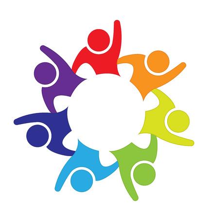 manos logo: La gente feliz del trabajo en equipo vector de la tarjeta de visita del logotipo Identificación del diseño Vectores