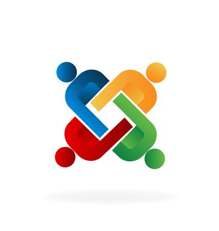 embraced: Logo unity people teamwork vector