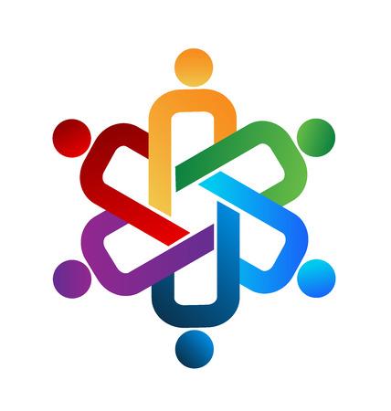 Logotipo de la gente del trabajo en equipo unidad