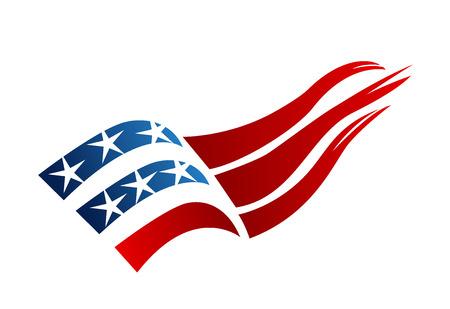 アメリカ国旗ロゴ ベクトル  イラスト・ベクター素材