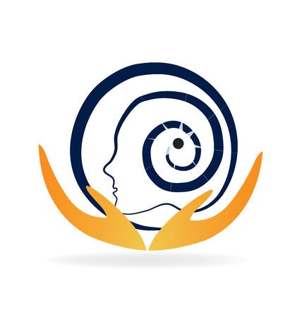 enfermedades mentales: cuidados mentales del cerebro diseño del logotipo del vector Foto de archivo