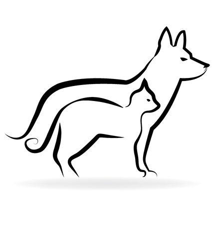 pet cat: Veterinary cat and dog symbol vector logo icon