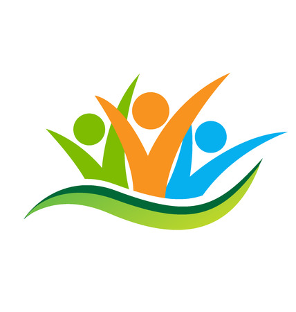 comunidad: la gente de negocios feliz concepto de amistad, socios, logotipo del Partido del vector Foto de archivo