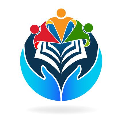 mundo manos: el trabajo en equipo Libro icono del logotipo formación vector
