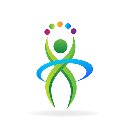 人フィットネス ビジネスのロゴのアイコン ベクトル