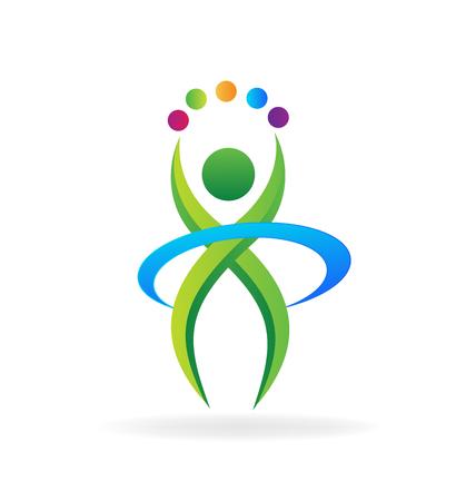 communicatie: Persoon fitness-activiteiten logo pictogram vector