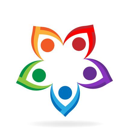 Teamwork bloem mensen hand in hand vector pictogram ontwerp logo