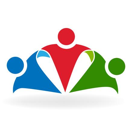 amistad: Abrazo feliz de la gente de negocios concepto de amistad, socios, logotipo del Partido del vector Foto de archivo