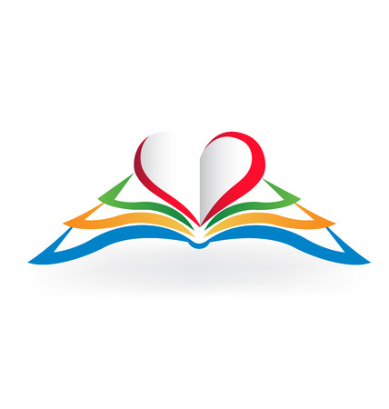 read book: Book with heart love shape .Educational logo vector image