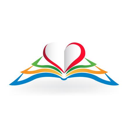 niños escribiendo: Libro imagen vectorial logotipo .Educational amor corazón forma con