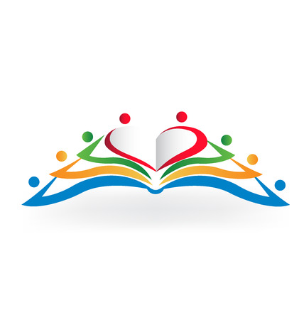 love image: Book teamwork heart love shape .Educational logo vector image