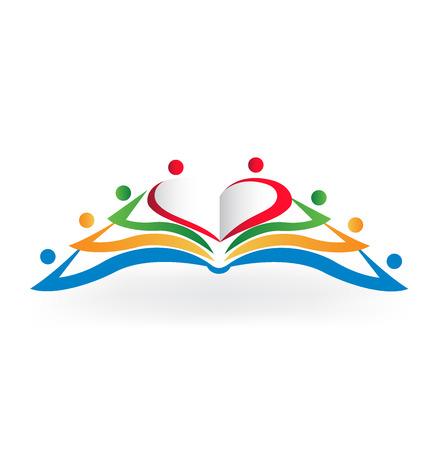 imagen vectorial logotipo .Educational amor Corazón del libro de trabajo en equipo de forma Logos