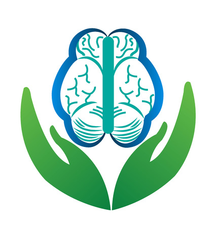 illness: Brain idea mental care logo vector design Illustration