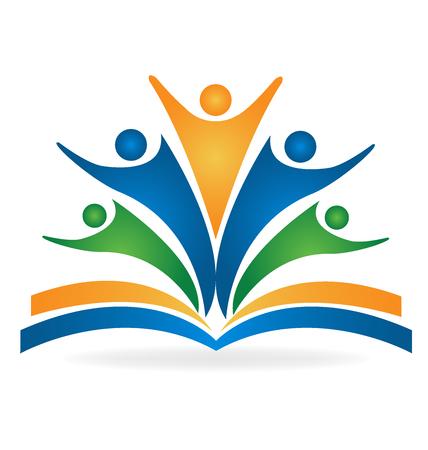 教育: 本書團隊精神教育標誌矢量圖像 向量圖像