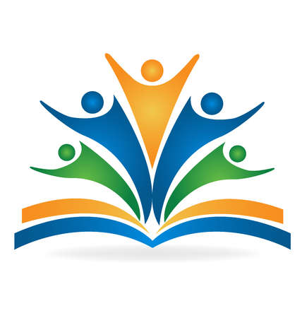 aprendizaje: imagen del logotipo educación vector de libro de trabajo en equipo