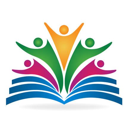 vzdělání: Kniha týmová práce vzdělávání logo vektorový obrázek