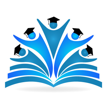 vzdělávací: Kniha a absolventi vzdělání logo vektorový obrázek