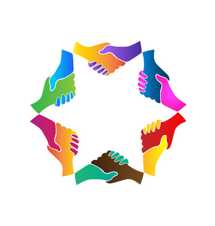 multi racial: Handshake group of people meeting symbol