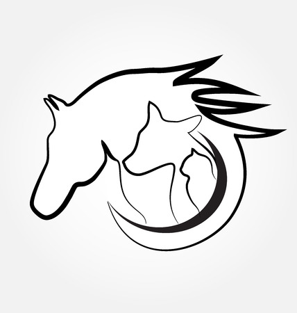 Horse cat and dog identity card business stylized design 일러스트