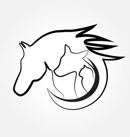 gatto Cavallo e la carta d'identità del cane business design stilizzato Vettoriali